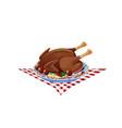 roast turkey on a plate vector image
