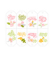 set of spring flower herbs tags with calligraphic vector image