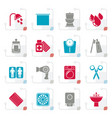 stylized bathroom and personal care icons vector image vector image