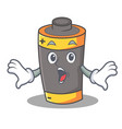 surprised battery mascot cartoon style vector image vector image