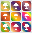 Table lamp Icon sign Nine buttons with bright vector image