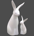 two white easter bunnies vector image vector image