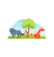 wild animals on beautiful natural landscape wolf vector image vector image
