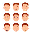 young cartoon character emotions set vector image vector image