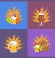 four sets of beer presentation vector image