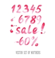 Numbers and sale set Hand drawn letters vector image