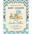 Beautiful baby boy shower card with toys vector image