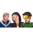 bearded guy in hat and warm jacket smiling woman vector image vector image