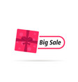 big sale icon with top view gift box vector image
