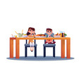 boy and girl have dinner at table isolated kids vector image vector image