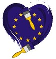 brush love European flag vector image vector image