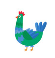 cartoon chicken isolated on white cartoon vector image