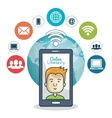cartoon guy technology and globe graphic vector image