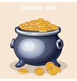 cartoon metal pot filled with gold coins vector image vector image