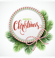 Christmas circle frame of fir branches vector image vector image
