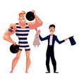 circus performers - strongman and magician vector image