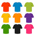 colored t-shirts templates set promotional and vector image