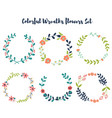 colorful wreaths floral hand drawn design vector image vector image