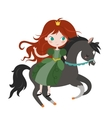 cute cartoon princess on black horse vector image vector image