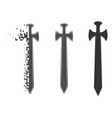 decomposed dotted halftone medieval sword icon vector image
