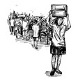 drawing people are walking at local market vector image vector image