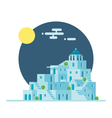 Flat design of Santorini Greece village vector image vector image