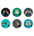 flat icons with working hands vector image vector image