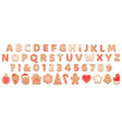 gingerbread alphabet christmas cookies vector image