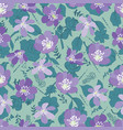 green leaves and violet flowers seamless vector image