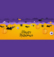 halloween card with bats and pumpkins isolated vector image