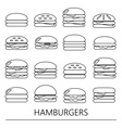 hamburgers types fast food modern simple outline vector image vector image
