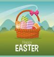 happy easter card basket egg landscape vector image