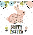 happy easter greeting card with a cute bunny vector image vector image