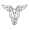 isolated caduceus emblem vector image vector image