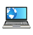 laptop computer with half earth globe on screen vector image vector image