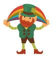 leprechaun with rainbow and shamrock st patricks vector image