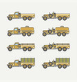 line flat color icon set service staff open vector image vector image