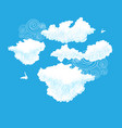 lovely drawings white clouds on blue vector image vector image
