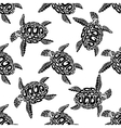 Marine turtles seamless background pattern vector image vector image