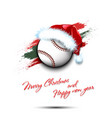 new year and baseball ball in santa hat