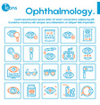 ophthalmology color linear icons set vector image vector image