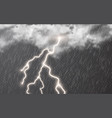 rain drops with clouds and lightning on vector image