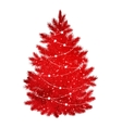 Red silhouette of Christmas tree vector image