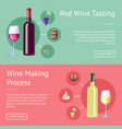 red wine tasting and making process promo banners vector image