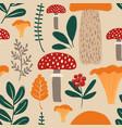retro seamless pattern with mushrooms vector image