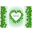 saint patricks day background heart shape frame vector image vector image