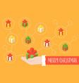 santa claus hand and gift box icon with social vector image vector image