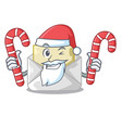 santa with candy envelope opened on shape white vector image
