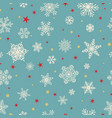 seamless pattern of snowflakes white on light blue vector image vector image