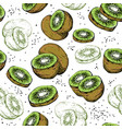 seamless pattern with fresh kiwi fruit vector image vector image